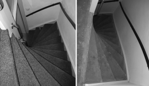 woningontruiming, tapijt, trap, vloerbedekking, vloer, lijmresten