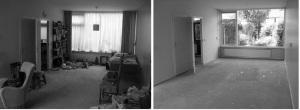vloerbedekking, woningontruiming, verwijderen, tapijt, zeil, lijmresten, trap